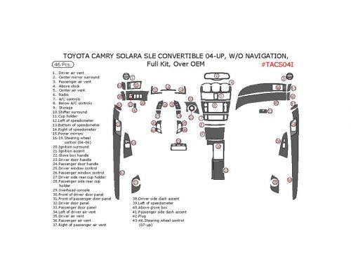 Toyota Camry Solara 2004-2008 full interior dash kit, SLE, Convertible, Over OEM, Without Navigation System, 46 Pcs.