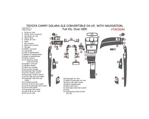 Toyota Camry Solara 2004-2008 full interior dash kit, SLE, Convertible, Over OEM, With Navigation System, 46 Pcs.