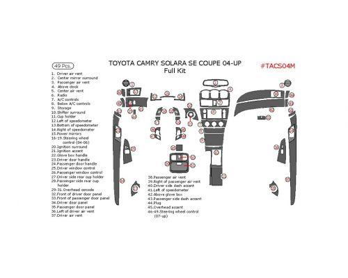 Toyota Camry Solara 2004-2008 full interior dash kit, SE, Coupe, 49 Pcs.