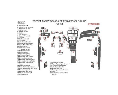 Toyota Camry Solara 2004-2008 full interior dash kit, SE, Convertible, 46 Pcs.