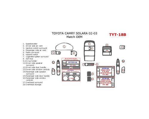 Toyota Camry Solara 1999-2003 interior dash kit, Match OEM, 18 Pcs.
