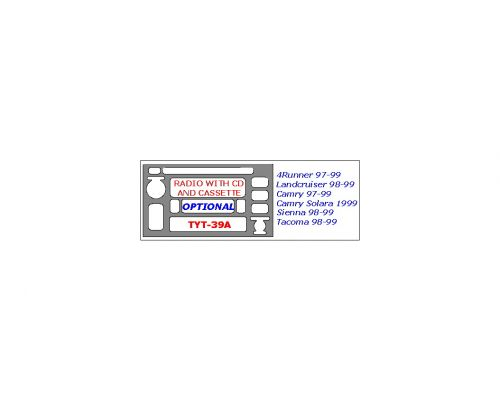 Toyota 4Runner 1996-2002, Toyota Camry Solara 1999-2003, Toyota Camry 1997-2001, Toyota Land Cruiser 1998-2002, Toyota Sienna 1998-2000 interior dash kit, Optional Radio With CD and Cassette Player (See Diagram For Correct Year), 1 Pc.