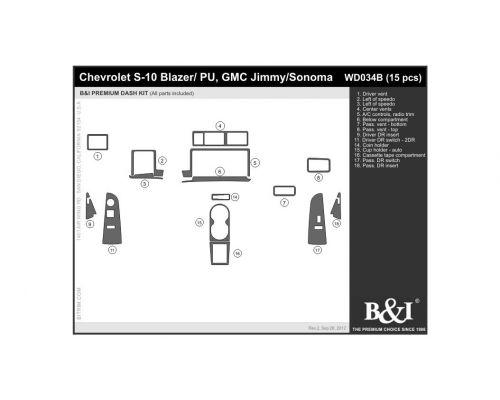 Chevrolet Blazer 1995-1996, Chevrolet S10 1995-1996, GMC Jimmy 1995-1996, GMC Sonoma 1995-1996 Dash Trim Kit, Full kit, 2 Door, 15 Pcs