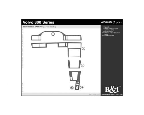 Volvo 800 Series 1993-1997 Dash Trim Kit, Fits without heated seats (small kit), 4 Door, 5 Pcs