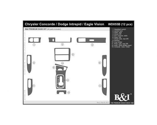 Chrysler Concorde 1993-1996, Dodge Intrepid 1993-1996, Eagle Vision 1993-1996 Dash Trim Kit, Fits manual transmission (full kit), 4 Door, 12 Pcs