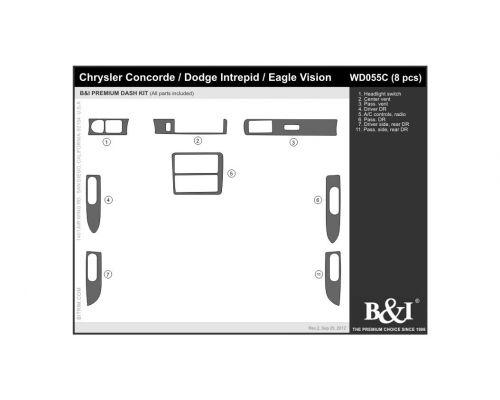 Chrysler Concorde 1993-1996, Dodge Intrepid 1993-1996, Eagle Vision 1993-1996 Dash Trim Kit, Full kit, 4 Door, 8 Pcs