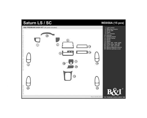 Saturn LS 1996-1999, Saturn SC 1996-1999 Dash Trim Kit, Fits 4DR from 1996-1999 and 2DR from 1997-1999 (full kit), 2&4 Door, 15 Pcs