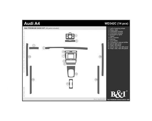 Audi A4 2000-2001, Audi S4 2000-2001 Dash Trim Kit, Fits manual transmission (full kit), 4 Door, 14 Pcs