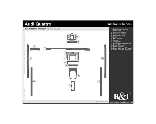 Audi A4 2000-2001, Audi S4 2000-2001 Dash Trim Kit, Fits Quattro with manual transmission (full kit), 4 Door, 14 Pcs