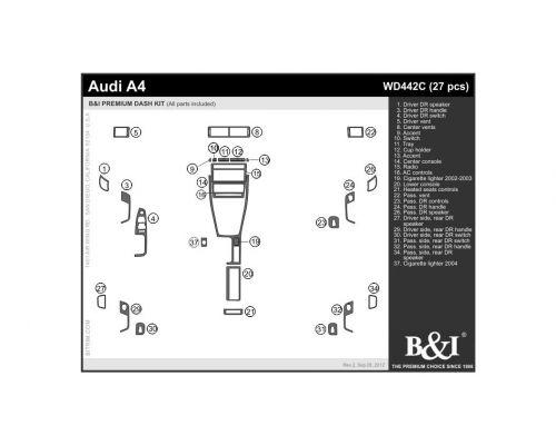 Audi A4 2002-2004, Audi S4 2002-2004 Dash Trim Kit, Compliments factory wood (full kit), 4 Door, 27 Pcs