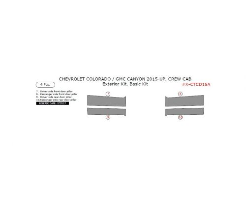 Chevrolet Colorado 2015-2021, GMC Canyon 2015-2021, Exterior Kit, Crew Cab, 4 Pcs.
